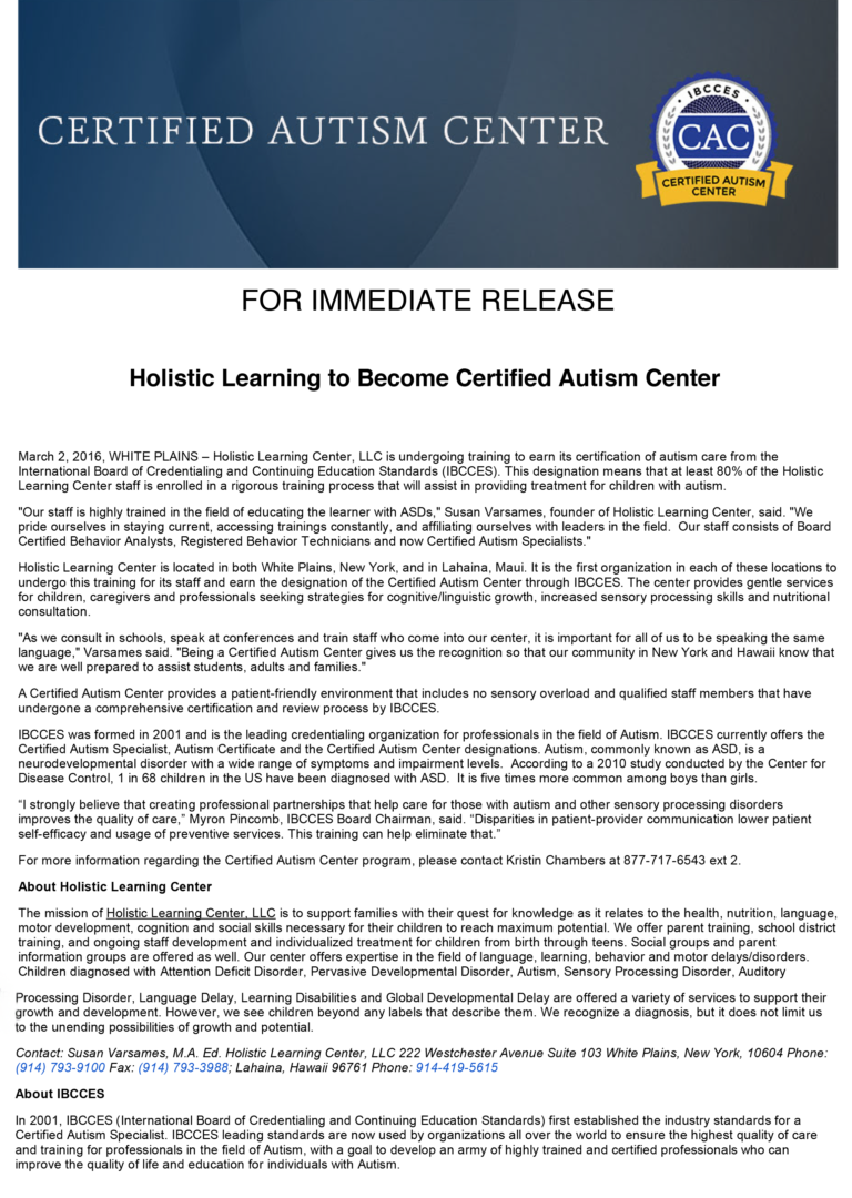 Ibcces Mail Holistic Learning To Become Certified Autism Center