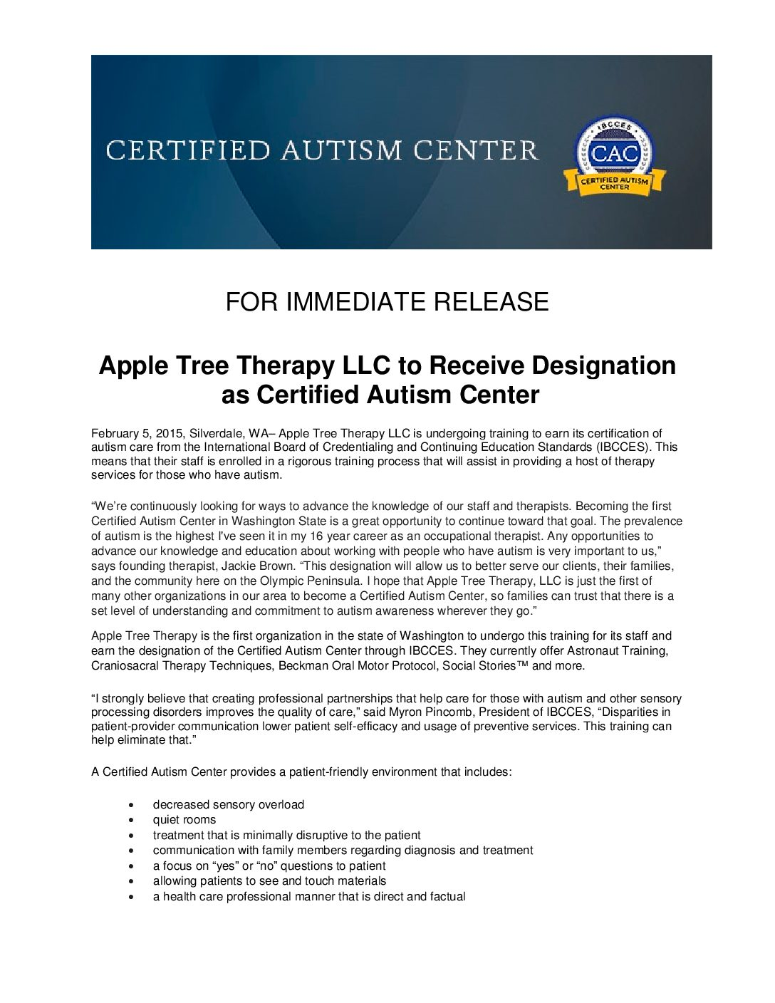 Pr 020515 Apple Tree Therapy Llc To Receive Designation As