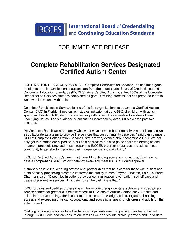 Pr 072816 Complete Rehabilitation Services Designated Certified