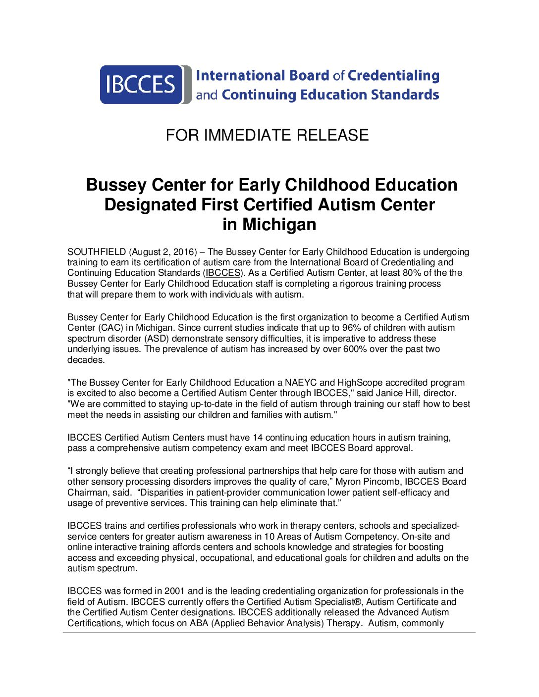 Pr 080216 Bussey Center For Early Childhood Education Designated