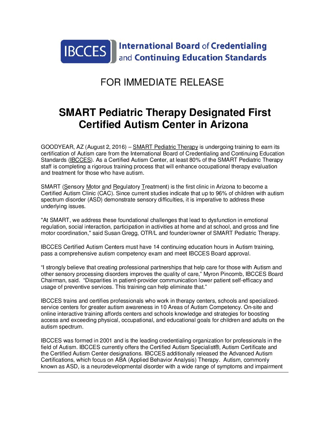 Pr 080216 Smart Pediatric Therapy Designated First Certified
