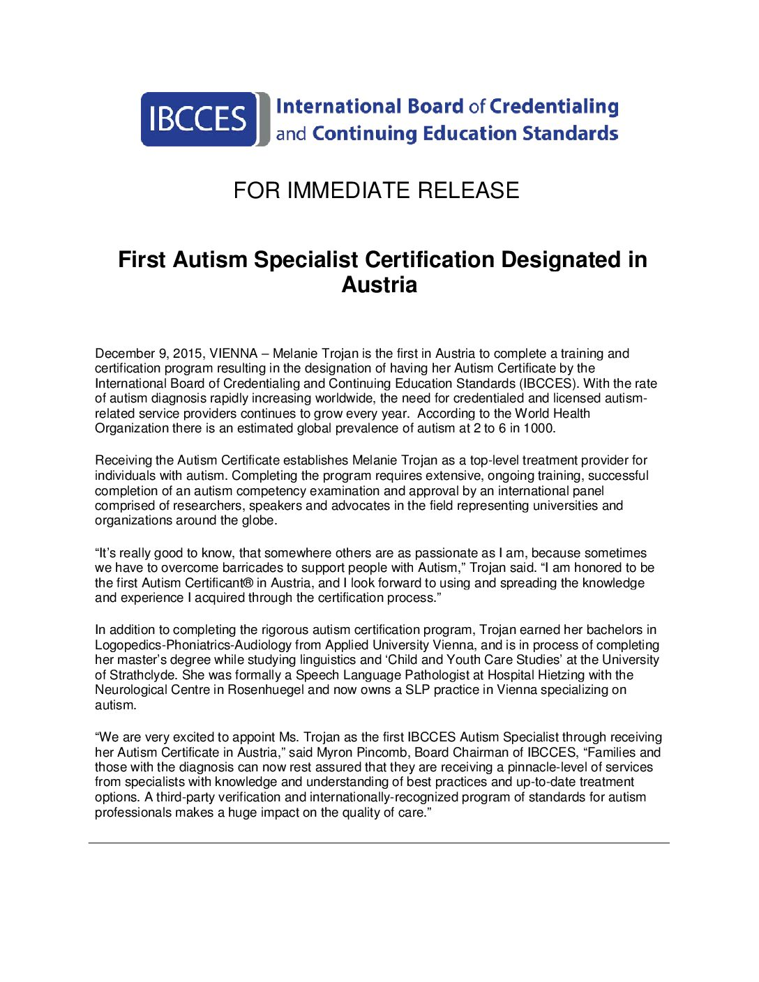 Pr 120915 First Autism Specialist Certification Designated In