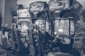 family at arcade
