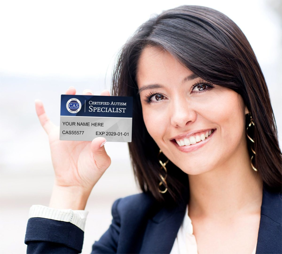 Woman holding her CAS card