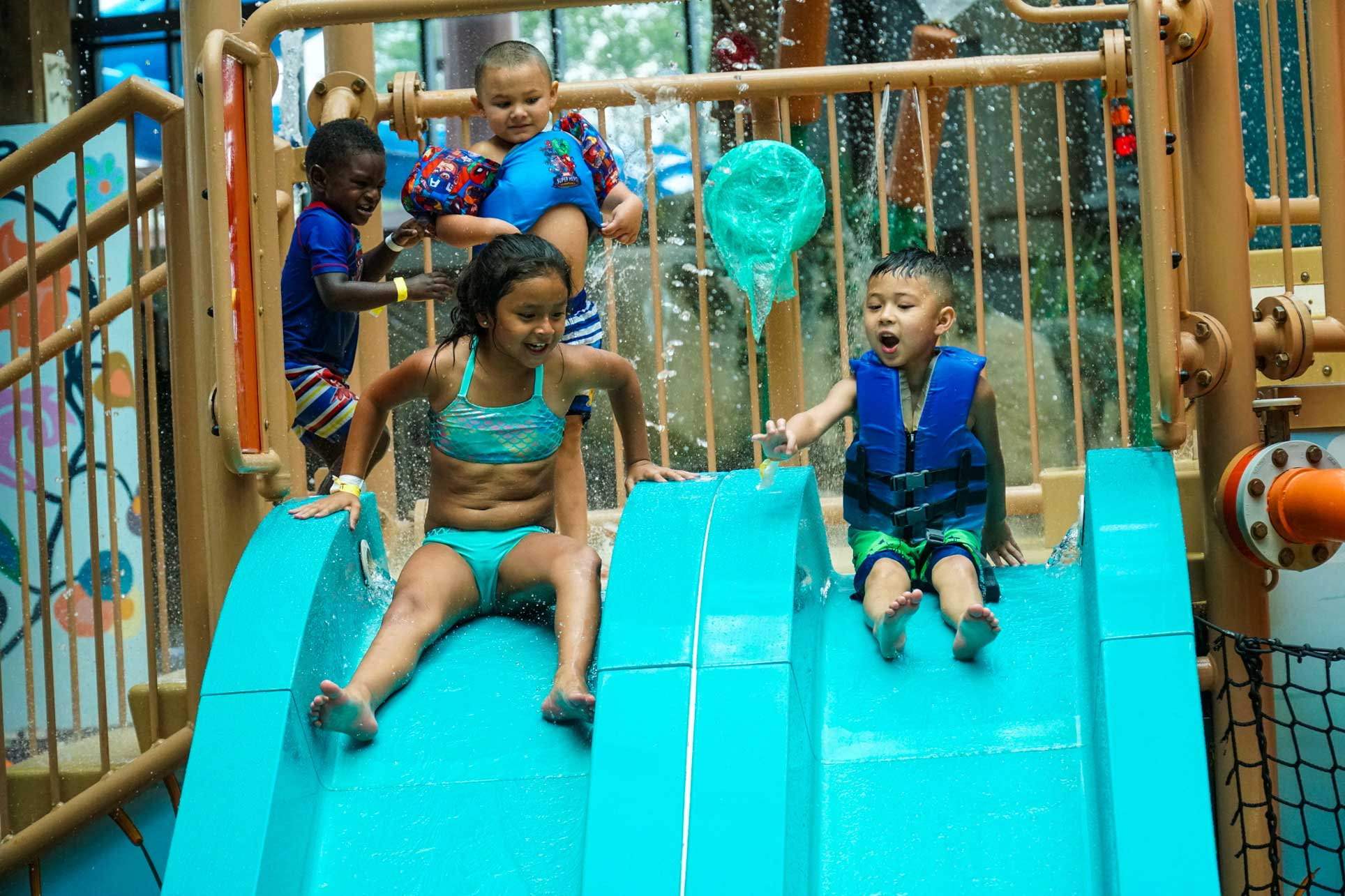 Soaring Eagle kids going down slide