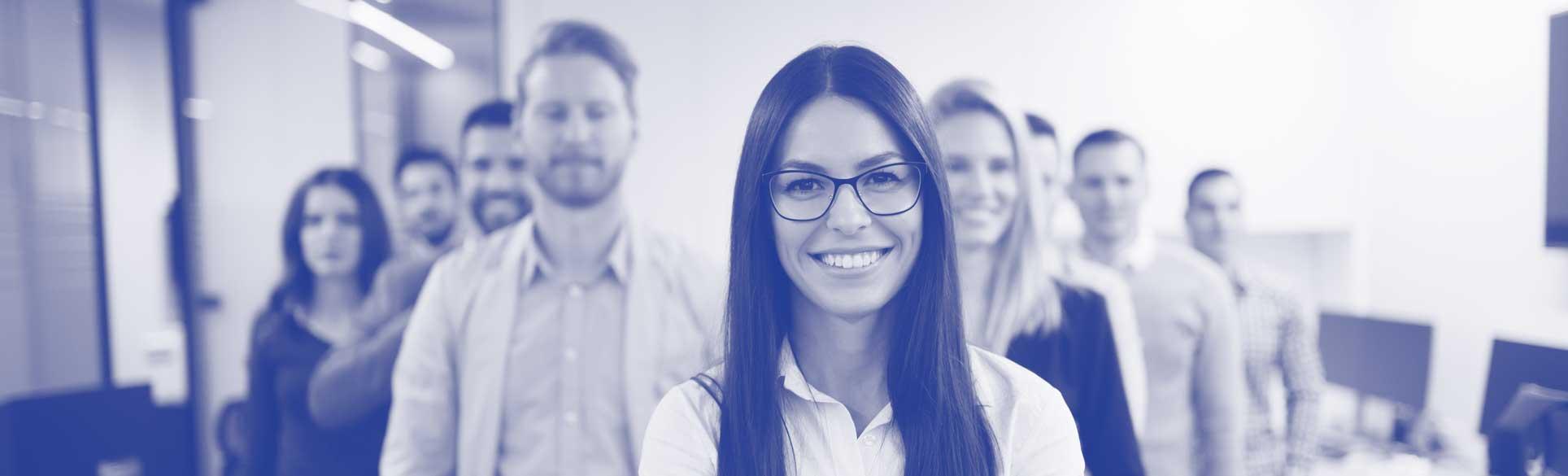 Neurodiverse team close up smiling