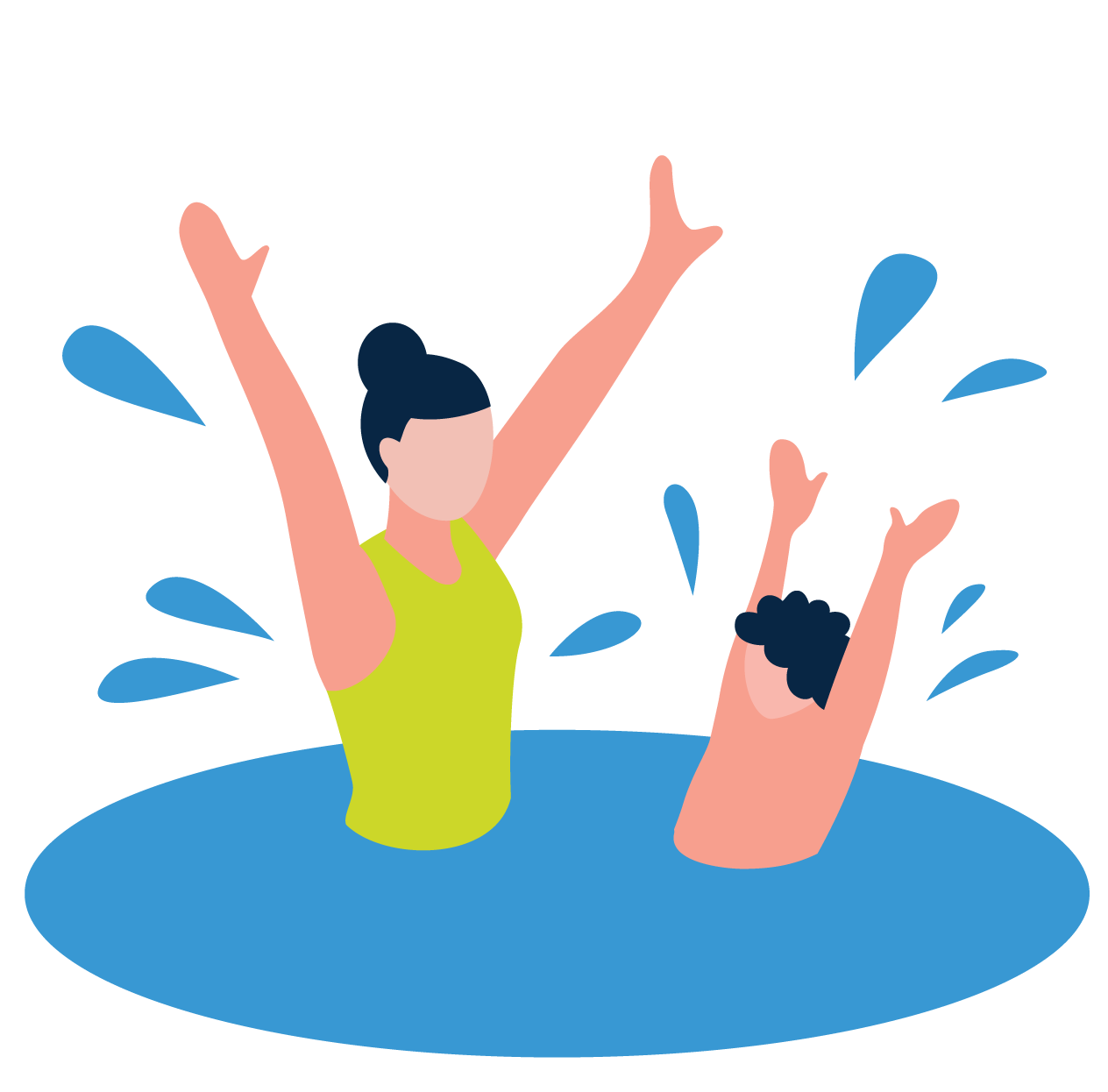 Woman & young boy swimming - vector