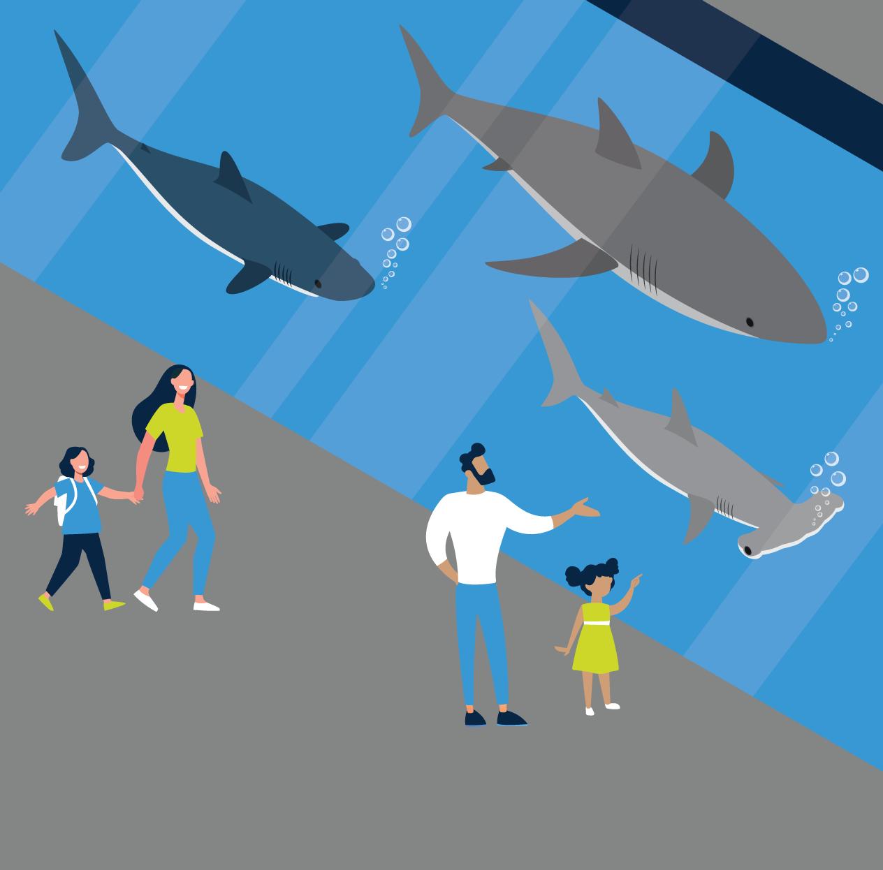 families at Certified Autism Center aquarium