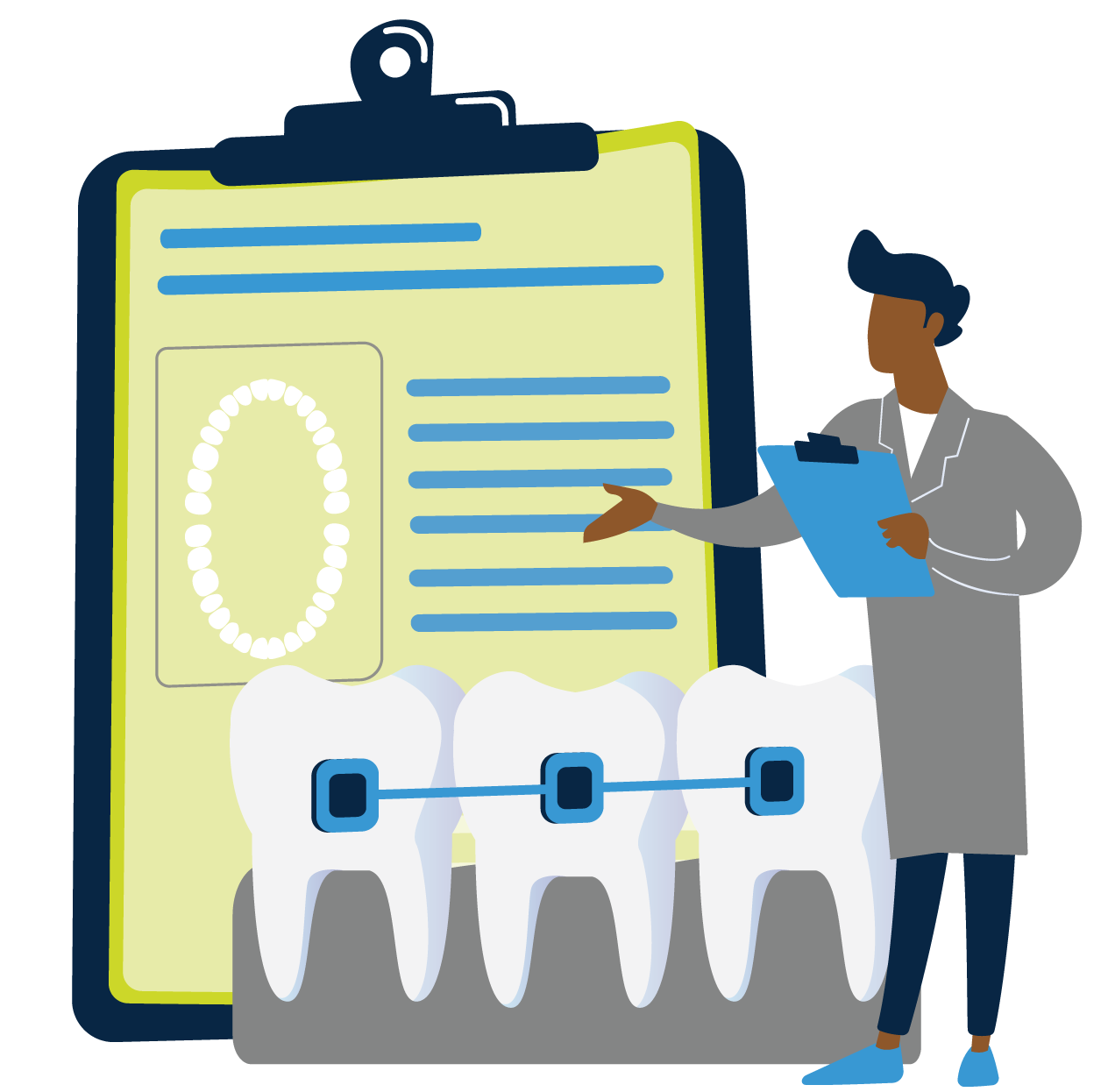 Dentist reviewing oral process at a CAC