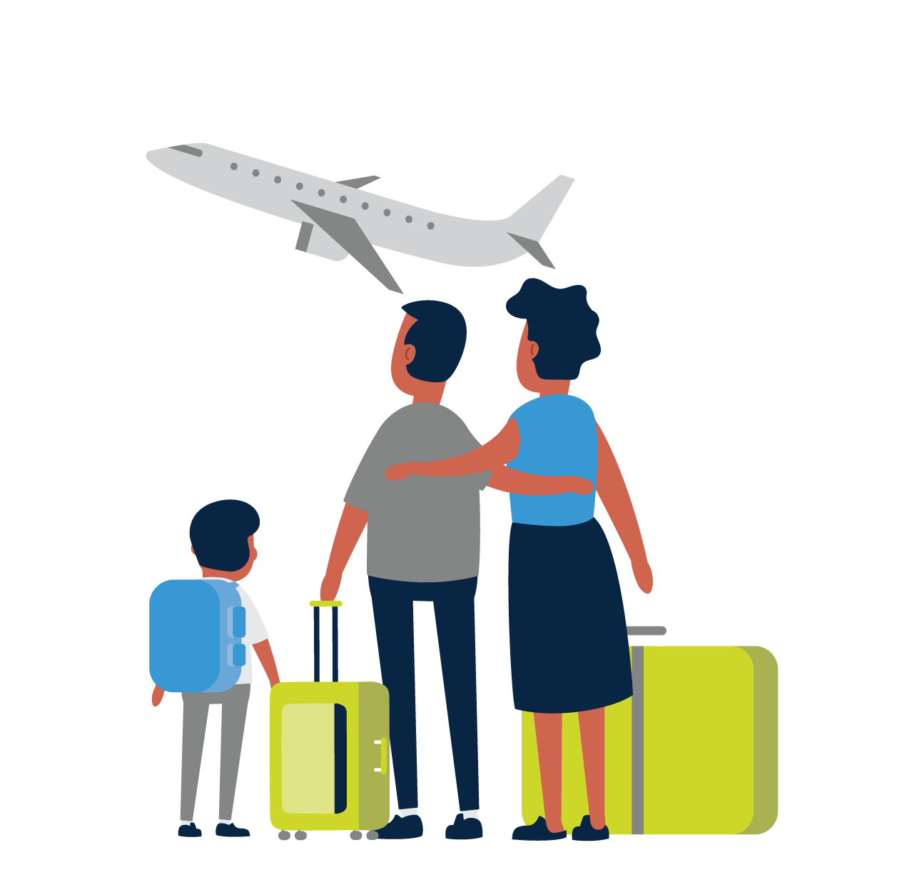 family packed for air travel