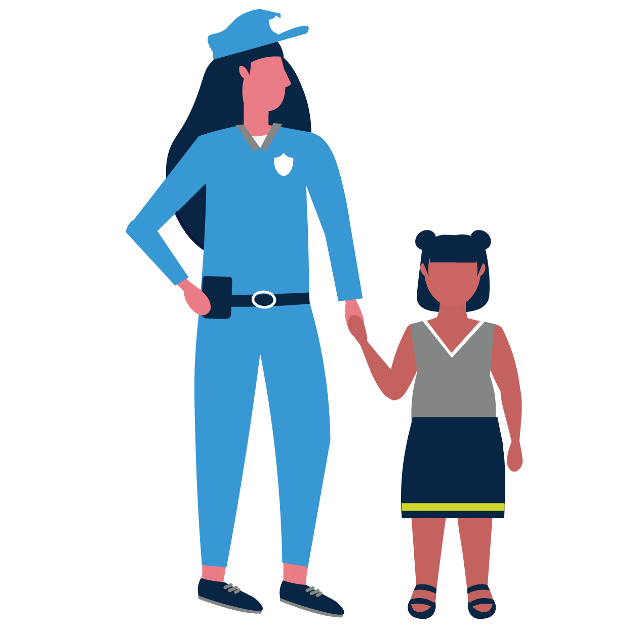 female police officer with autistic girl
