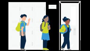 Kids in the school hallway