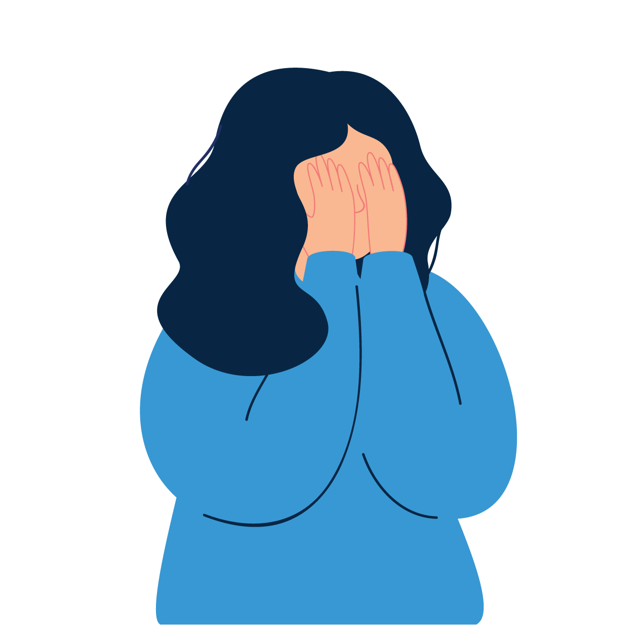 Female Student dealing with mental health issues - vector