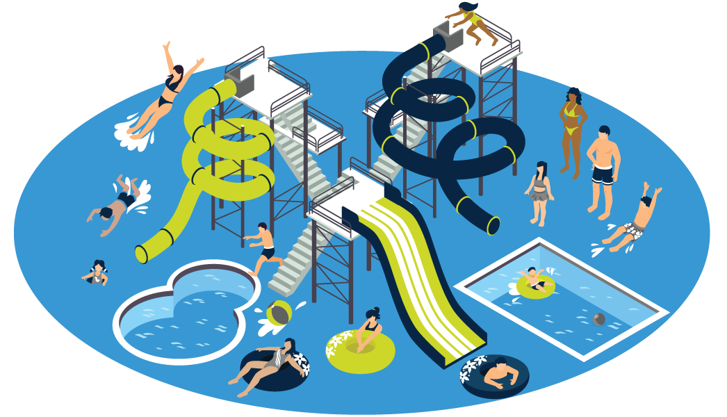 People at Water park on tubs, slides and swimming - vector