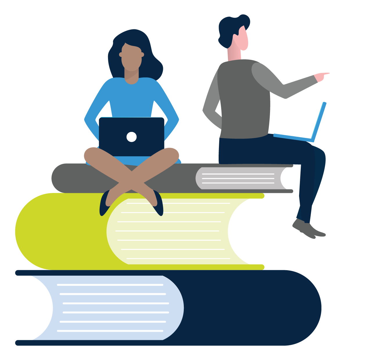 Online certification for Telepractice - vector 2 people on computers