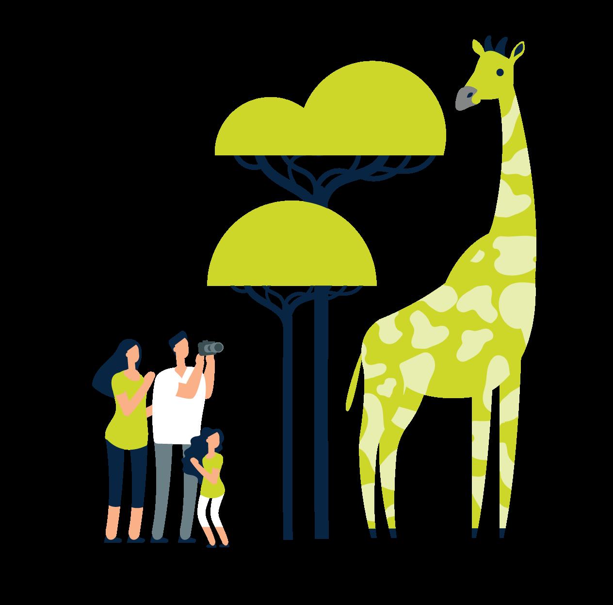 family looking at giraffe at CAC