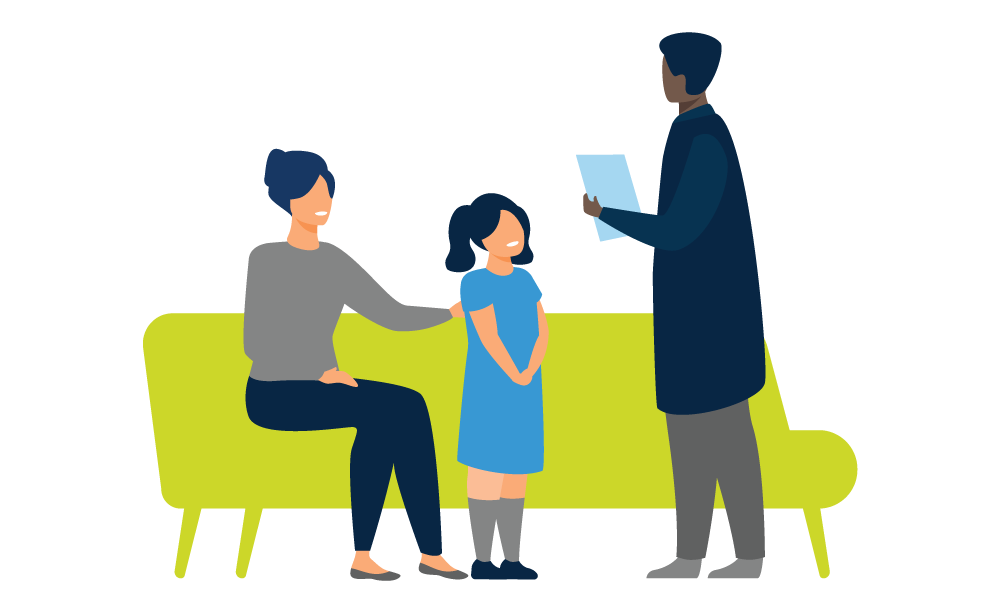 service provider working with patient and mother