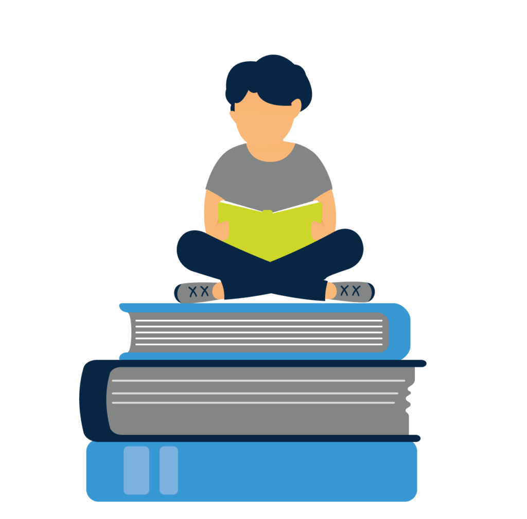 student reading on top of other books