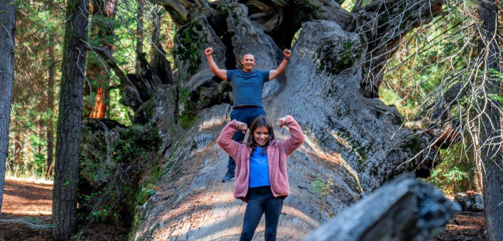 Visit Visalia father and daughter climbing big fallen tree
